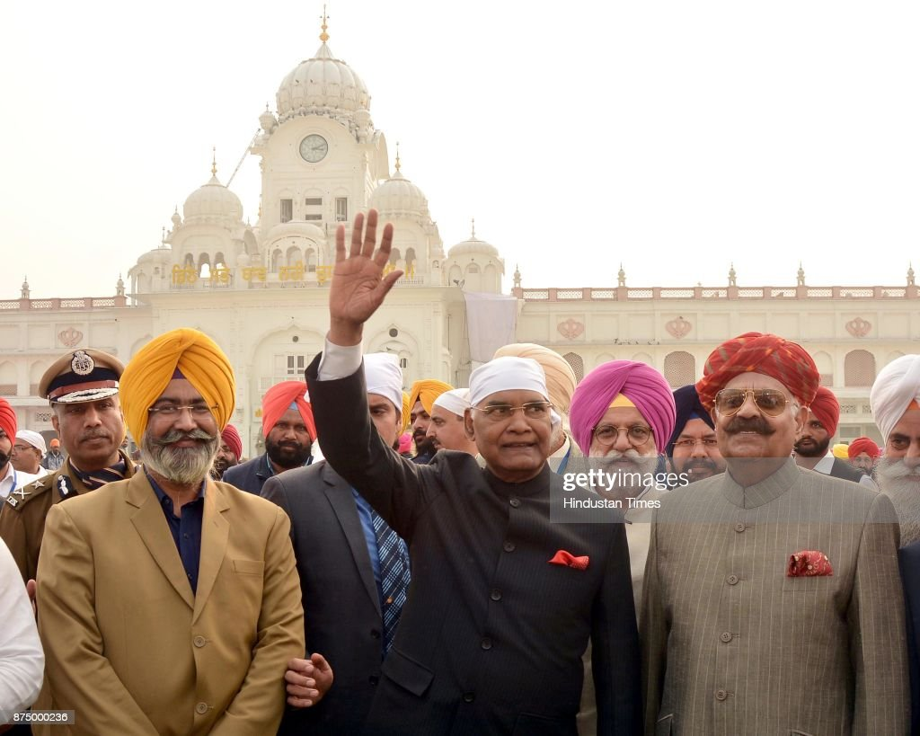 President Ram Nath Kovind with Punjab governor VP Singh Badnore coming out from GoldenTemple after paying obeisance on November 16 2017 in Amritsar...