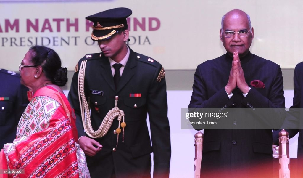 President Ram Nath Kovind with wife Savita Kovind at the Golden Jubilee Celebrations of MCM DAV college for women at Sector36 on February 28 2018 in..