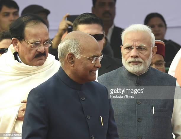 President Ram Nath KovindVice President M Venkaiah Naidu Prime Minister Narendra Modi seen during a event to pay tribute to BR Ambedkar on his 62nd...