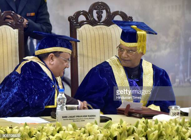 President Ramnath Kovind and Union Minister for Health JP Nadda on the occasion of the 45th Annual Convocation at All India Institute of Medical...