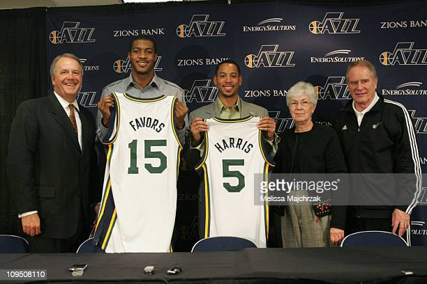 President Randy Rigby Derrick Favors Devin Harris owner Gail Miller and Executive Vice president Kevin O'Conner of the Utah Jazz pose for a photo...