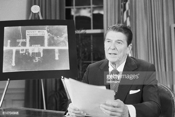 President Reagan addresses the nation on March 23 about the development of a space-age shield to intercept Soviet missiles.