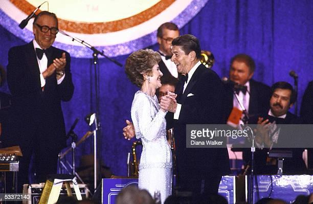 President Reagan and Nancy Reagan dance at Inaugural Ball at Air Space Museum