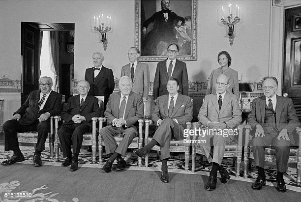 President Reagan and the Supreme Court Justices pose for an official portrait LtoR front row Thurgood Marshall William J Brennan Jr Chief Justice...