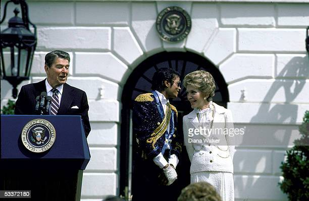 President Reagan and wife Nancy with Michael Jackson at White House