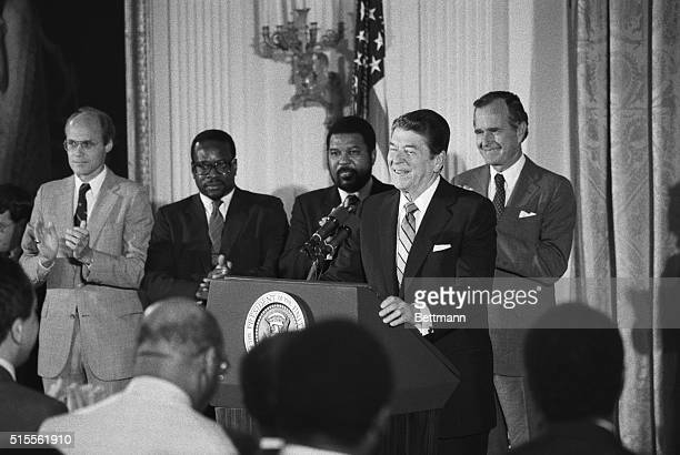 """President Reagan charging that he has been maligned by """"A lot of demagoguery and far-reaching"""" commitment to civil rights is shown. President Reagan,..."""