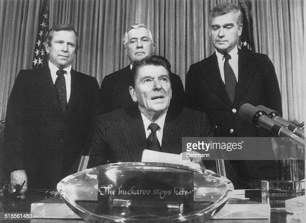 President Reagan during a bill signing in the Oval Office 12/15 warns the Soviet Union that the US would view any intervention in Poland very...
