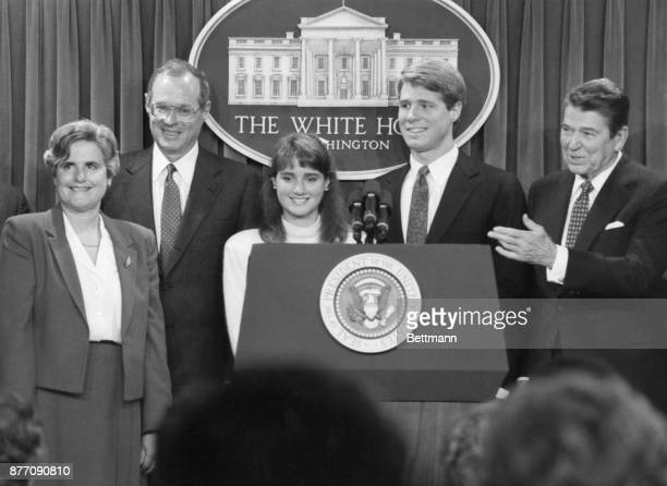 President Reagan introduces Judge Anthony Kennedy and the members of his family after nominating Kennedy to be an associate justice of the Supreme...