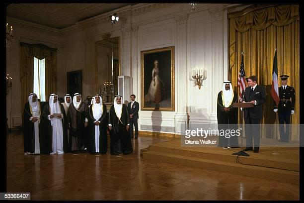 President Reagan with Crown Prince Saad of Kuwait entourage at WH