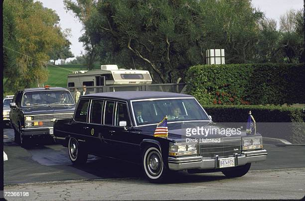 President Reagan's limo during his arrival for his New Year's stay in Palm Springs