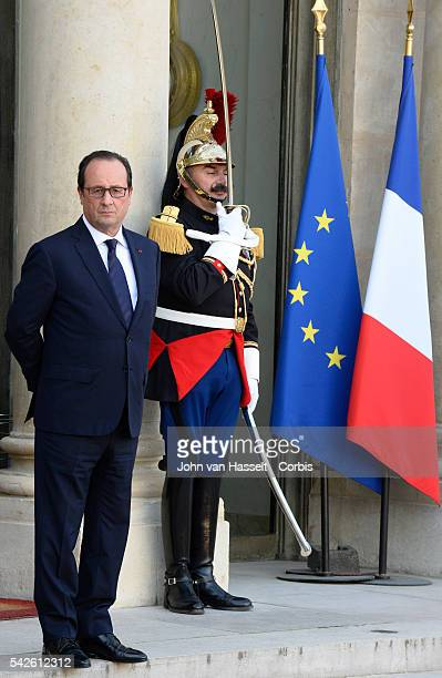 President Recep Tayyip Erdogan of Turkey meets French President Francois Hollande at the Elysee Palace in Paris to discuss the crisis in Kobani Syria...
