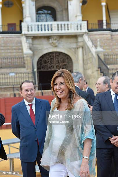 President regional government of Andalusia Susana Diaz after the The Royal Cavalry Armory University Awards at the real Maestranzaon June 12 2015 in...