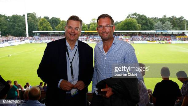 President Reinhard Grindel and Andreas Kremer of Meppen before the 3 Liga match between SV Meppen and 1 FC Magdeburg at Haensch Arena on August 1...