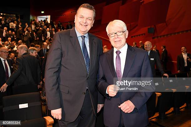DFB president Reinhard Grindel and DFL league president Reinhard Rauball pose for a picture prior to the ceremonial act of the 42nd DFB Bundestag at...