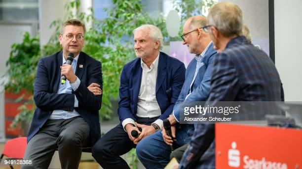 President Reinhard Grindel and Rudi Voeller attend the 125th anniversary of 1 Hanauer FC on April 20 2018 in Hanau Germany