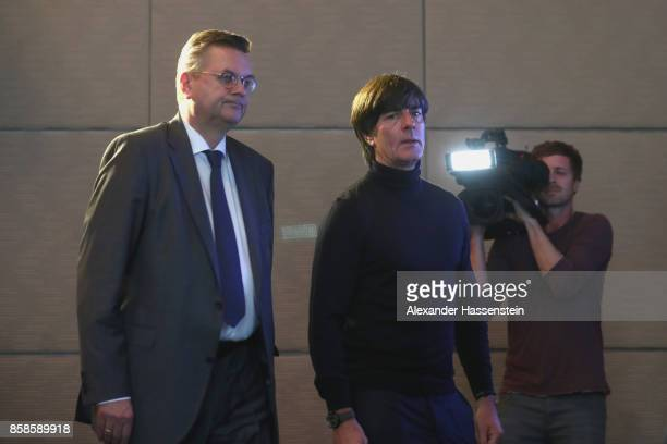 President Reinhard Grindel arrives with Joachim Loew head coach of Germany for a DFB Press Conference at Hotel Hyatt Regency Mainz ahead of their...