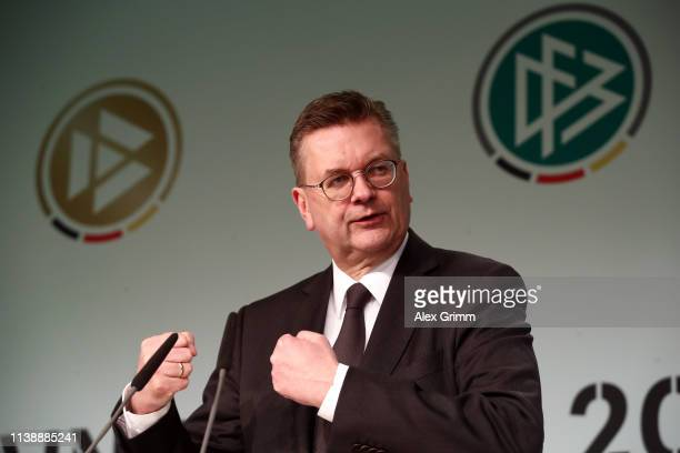 President Reinhard Grindel attends the Coaching Award Ceremony & Closing Event UEFA Pro Coaching Course at Hyatt Hotel on March 28, 2019 in Cologne,...