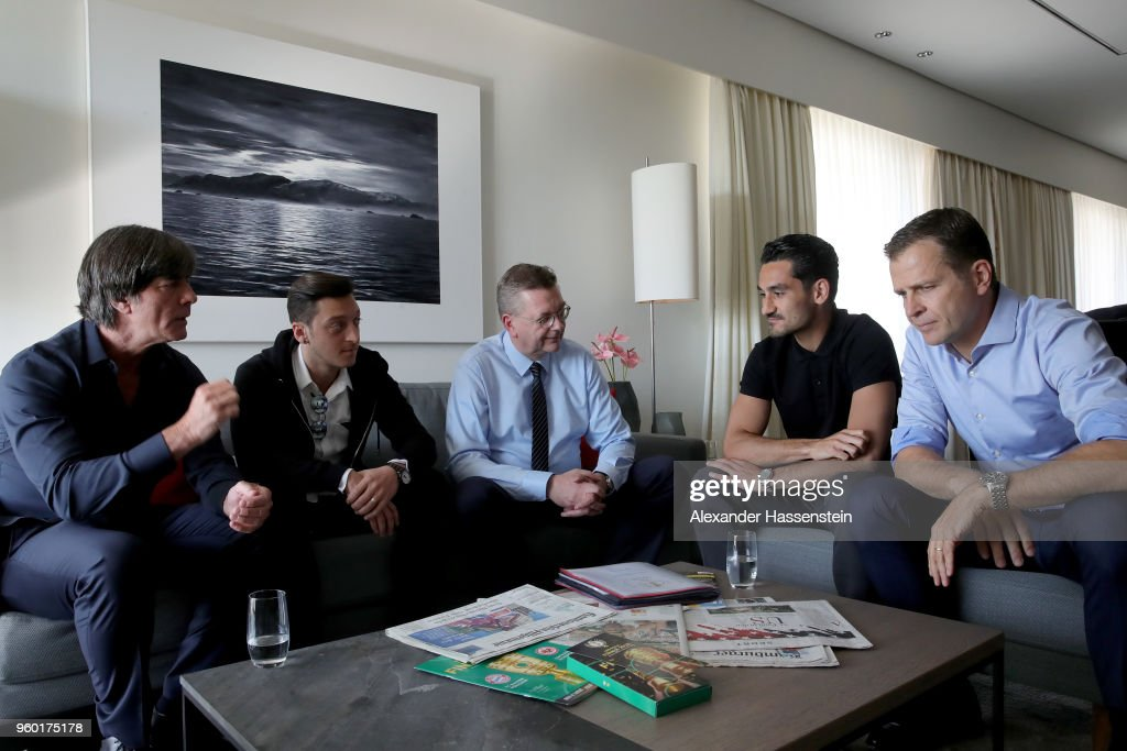 DFB President Reinhard Grindel Meets Mesut Oezil And Ilkay Guendogan : News Photo