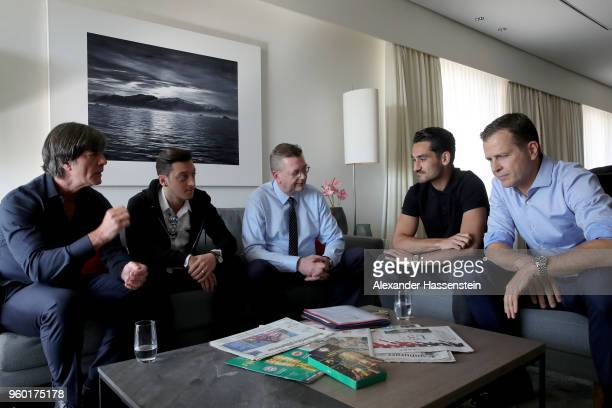 DFB president Reinhard Grindel German national team head coach Joachim Loew German national team manager Oliver Bierhoff meet German national players...