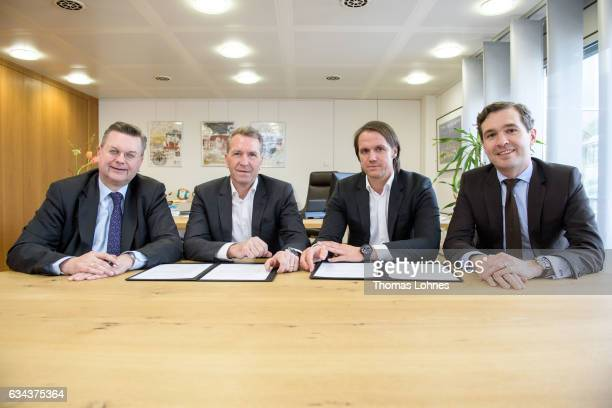 DFB President Reinhard Grindel Goalkeeping coach Andreas Koeppke assistance coach Thomas Schneider and the DFB general secretary Friedrich Curtius...