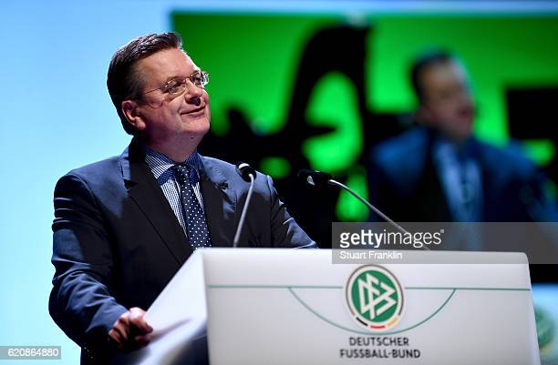 President Reinhard Grindel holds the opening speech during the ceremonial act of the 42nd DFB Bundestag at Theater Erfurt on November 3, 2016 in...