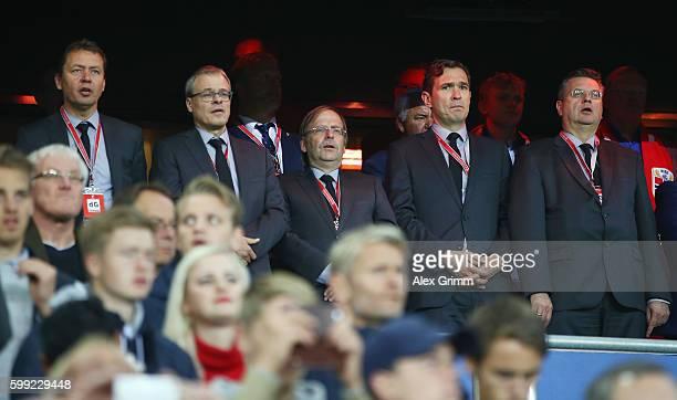 President Reinhard Grindel, Secretary General Friedrich Curtius, Rainer Koch, Peter Peters and Ralf Koettker sing the German anthem prior to the 2018...