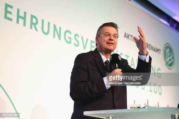 President Reinhard Grindel speaks at the Awarding Ceremony at the 20th anniversary of Volunteering for the Club 100 at MercedesBenz Museum on...
