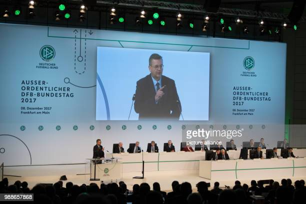 DFB President Reinhard Grindel speaks at the extraordinary federal conference of the German Football Association  in Frankfurt/Main Germany 8...