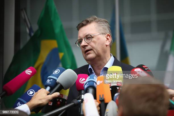 President Reinhard Grindel talks to the media during the return of the German national football team from the FIFA World Cup Russia 2018 at Frankfurt...