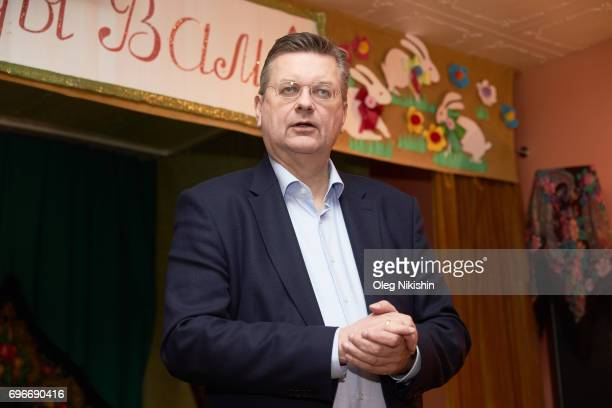 President Reinhard Grindel visits The Don Bosco Children's Home on June 16 2017 in Moscow Russia
