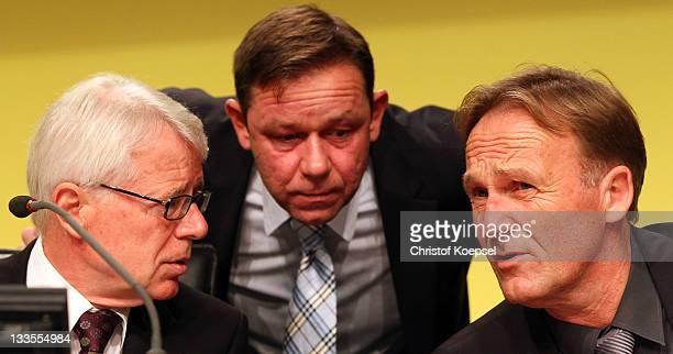President Reinhard Rauball, organisator Christian Hockenjos and chairman Hans-Joachim Watzke attend the general meeting of Borussia Dormtund at...