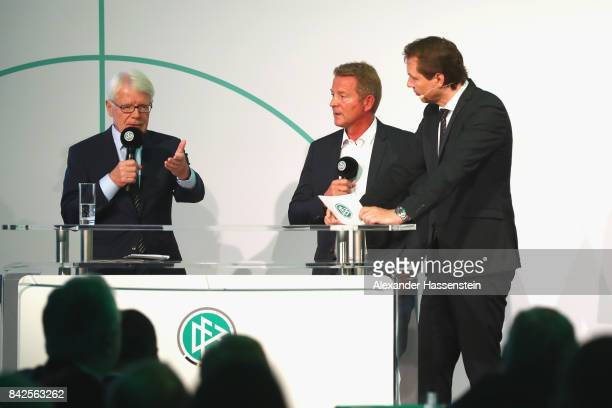 President Reinhard Rauball speaks at the Awarding Ceremony of the 20th anniversary of Volunteering for the Club 100 at MercedesBenz Museum on...