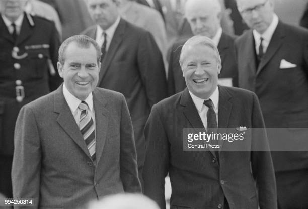 President Richard Nixon and British Prime Minister Edward Heath at Heathrow Airport, UK, 3rd October 1970. Nixon has just arrived from Madrid for a...