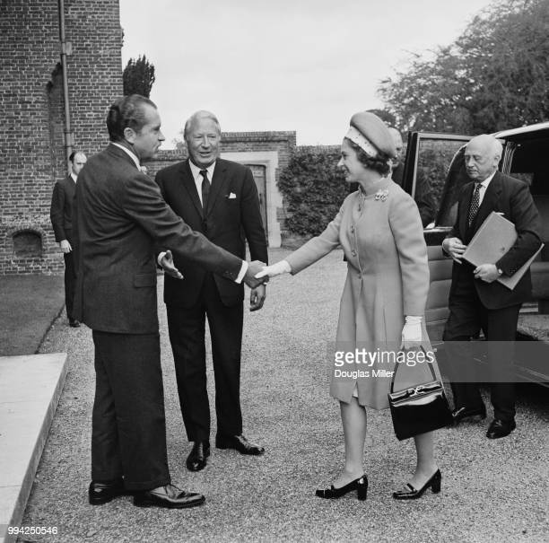 US President Richard Nixon and British Prime Minister Edward Heath meet Queen Elizabeth II for lunch at Chequers UK 3rd October 1970