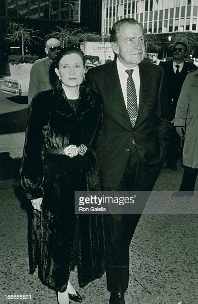 President Richard Nixon and daughter Tricia Nixon attend Memorial Service for Malcolm Forbes on March 1 1990 at St Bartholomew's Church in New York...