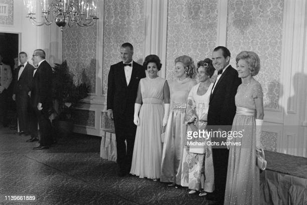 President Richard Nixon and First Lady Pat Nixon host a dinner at the Century Plaza Hotel in Los Angeles for the Apollo 11 astronauts, after their...