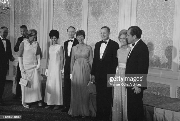 US President Richard Nixon and First Lady Pat Nixon host a dinner at the Century Plaza Hotel in Los Angeles for the Apollo 11 astronauts after their...