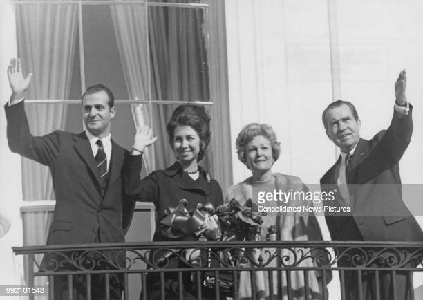President Richard Nixon and First Lady Pat Nixon on the South Portico of the White House in Washington, DC with Prince Juan Carlos and Princess Sofia...