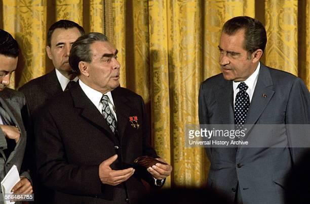 US President Richard Nixon and Russian leader Leonid Brezhnev at the white house 1974