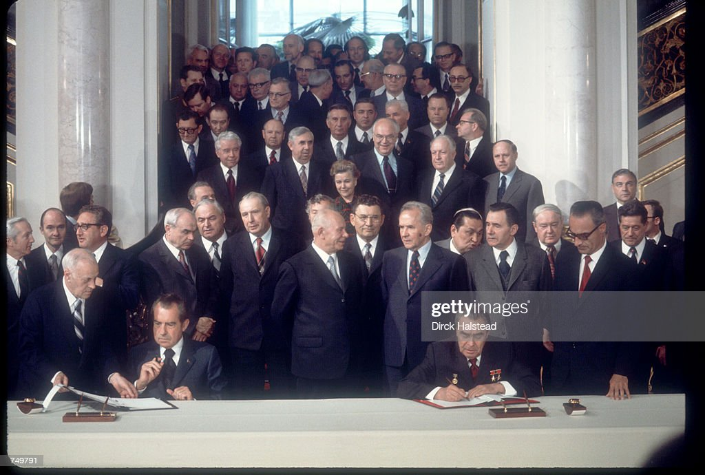 President Richard Nixon and Russian leader Leonid Brezhnev signs treaty May 26, 1972 in the Kremlin in Moscow, Russia. Brezhnev and Nixon signed the SALT treaty, freezing certain U.S. and Soviet weapons systems.