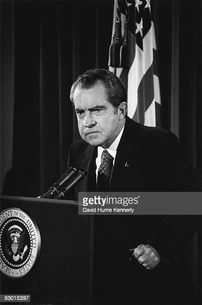 US President Richard Nixon answers questions about the Watergate scandal in the East Room of the White House on October 1973 in Washington DC
