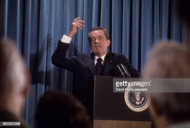 President Richard Nixon at a press conference, Washington DC, September 5, 1973