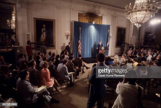 President Richard Nixon at a press conference with reporters, Washington DC, September 5, 1973. White House Press Secretary Ron Ziegler stands near...