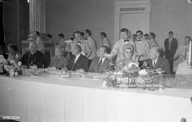 President Richard Nixon attends a luncheon in his honour at Dublin Castle during a State visit, Dublin, Ireland, circa October 1970.