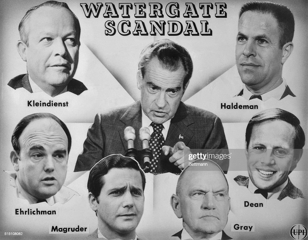 President Nixon and Officials Involved in Watergate Scandal : News Photo