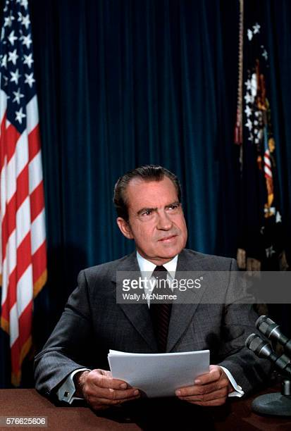 President Richard Nixon delivers one of his periodic Watergate speeches