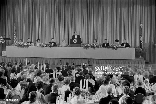US President Richard Nixon hosts a dinner at the Century Plaza Hotel in Los Angeles for the Apollo 11 astronauts after their historic lunar landing...