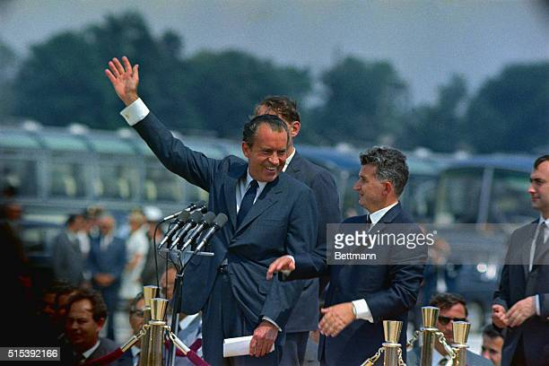 President Richard Nixon is welcomed by Romanian President Nicolae Ceausecu at Openini Airport upon arrival of the US Chief Executive for his...