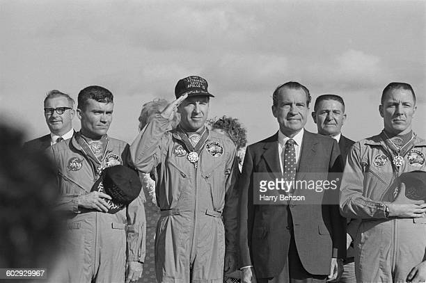 US President Richard Nixon meets the Apollo 13 astronauts in Honolulu Hawaii after their safe return to Earth 23rd April 1970 From left to right Fred...