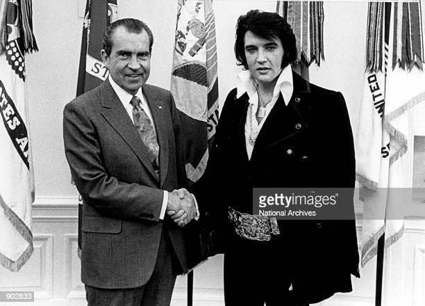President Richard Nixon meets with Elvis Presley December 21, 1970 at the White House.